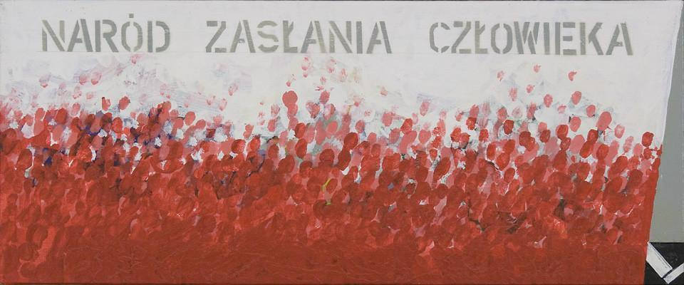 Obraz przedstawia biało-czerwoną kotarę, rozciągniętą na niemal całej jego powierzchni. Jedynie w prawym, dolnym rogu, zza kotary wyłania się biała noga. Na białej powierzchni  uwagę przykuwa jasnoszary napis NARÓD ZASŁANIA CZŁOWIEKA.