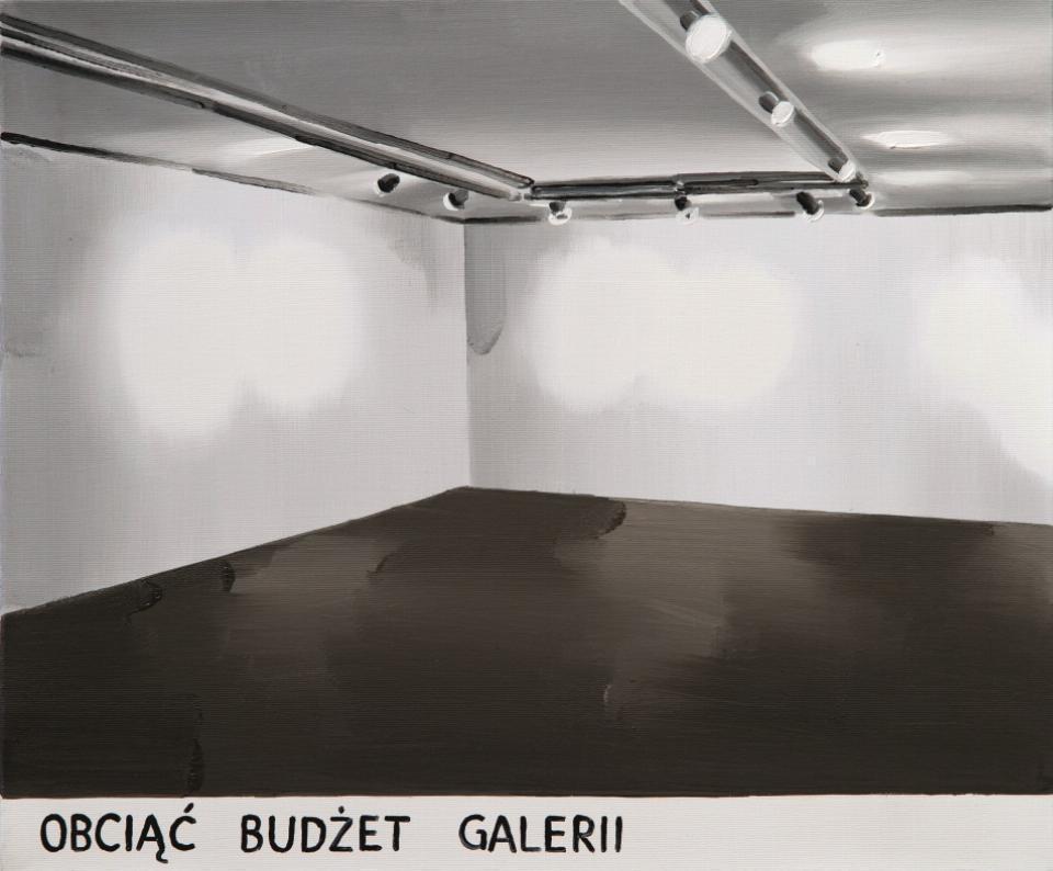 "pusta sala galeryjna, na dole podpis ""Obciąć budżet galerii"""