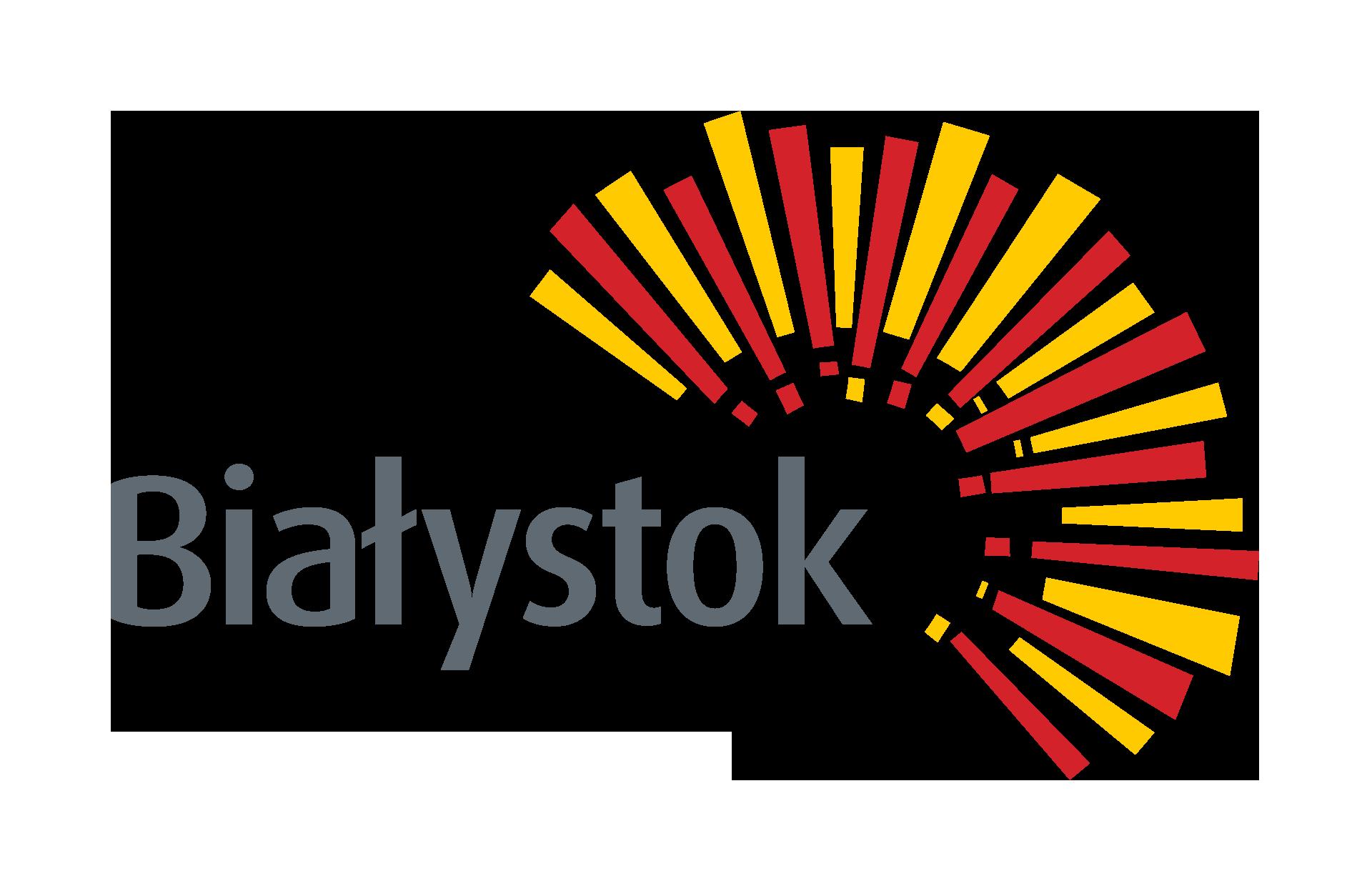 napis Białystok obok odchodzące od niego czerwone i żółte promienie